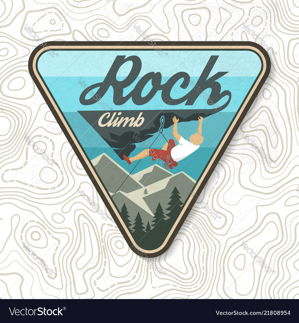 Vintage typography design with climber on the