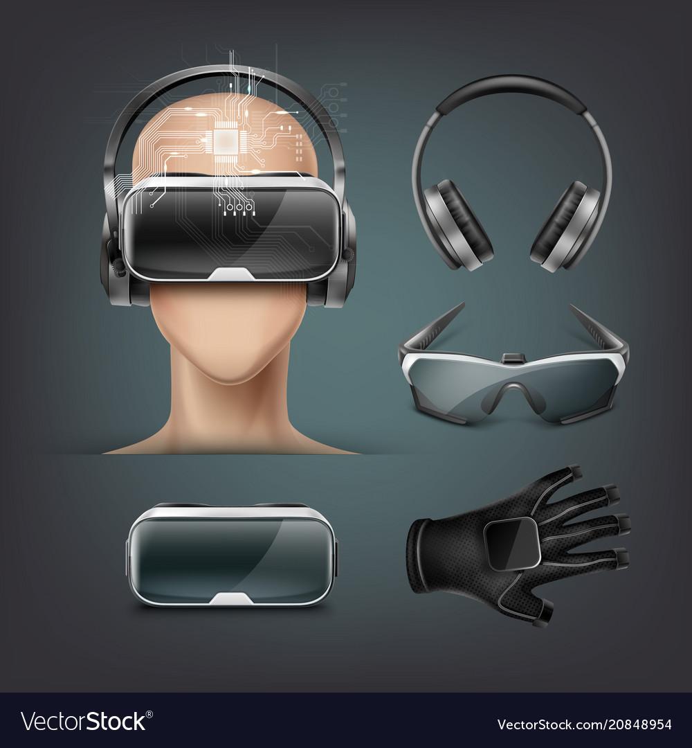 Virtual reality gadgets vector image