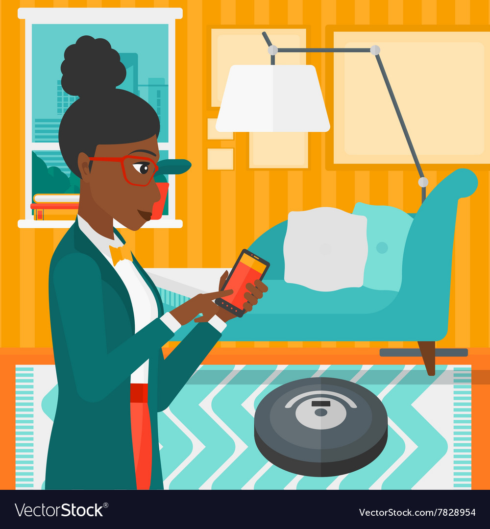 Woman With Robot Vacuum Cleaner Royalty Free Vector Image