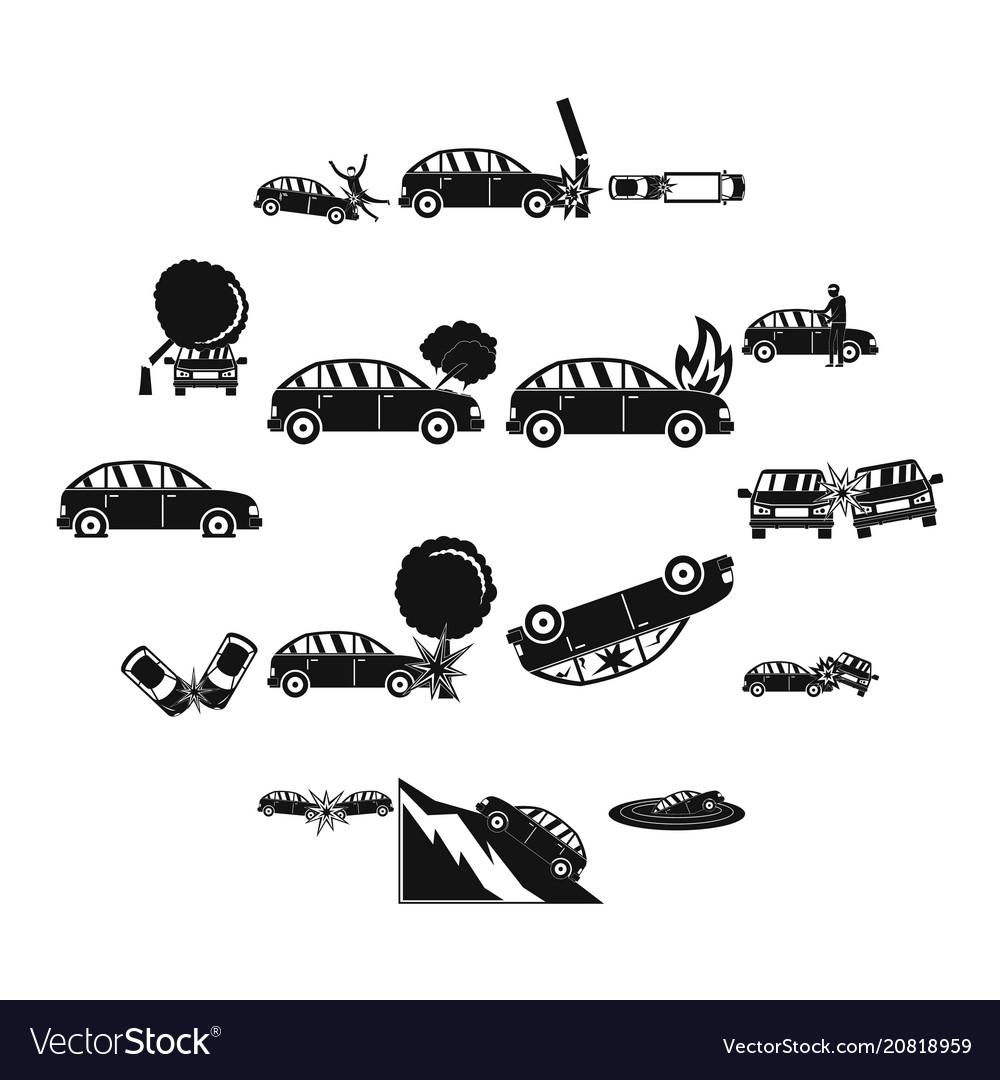 Accident car crash case icons set simple style
