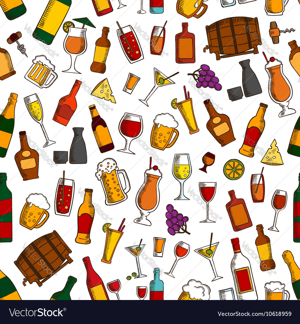 Aperitif drinks and cocktails seamless pattern vector image