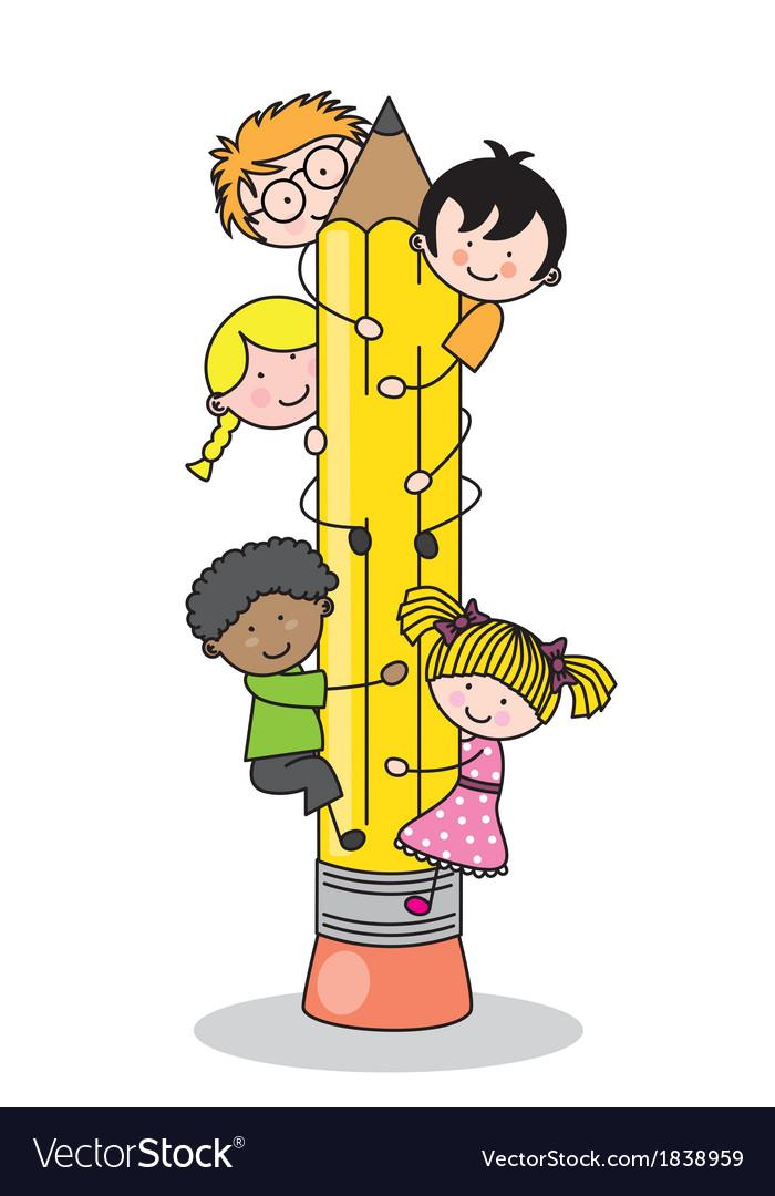 Children climbing up a pencil