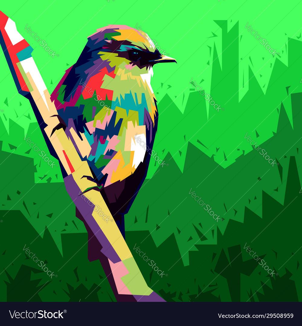 Colorful bird pop art style birds perch