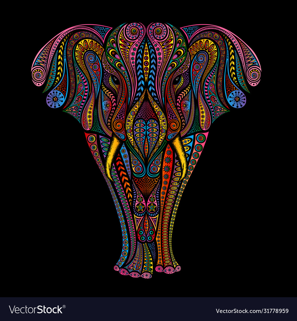 Colorful elephant patterns on a black background