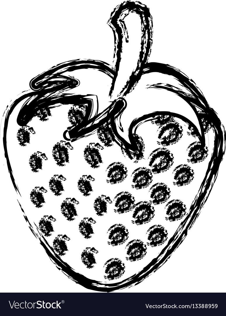 Contour strawberry fruit icon stock