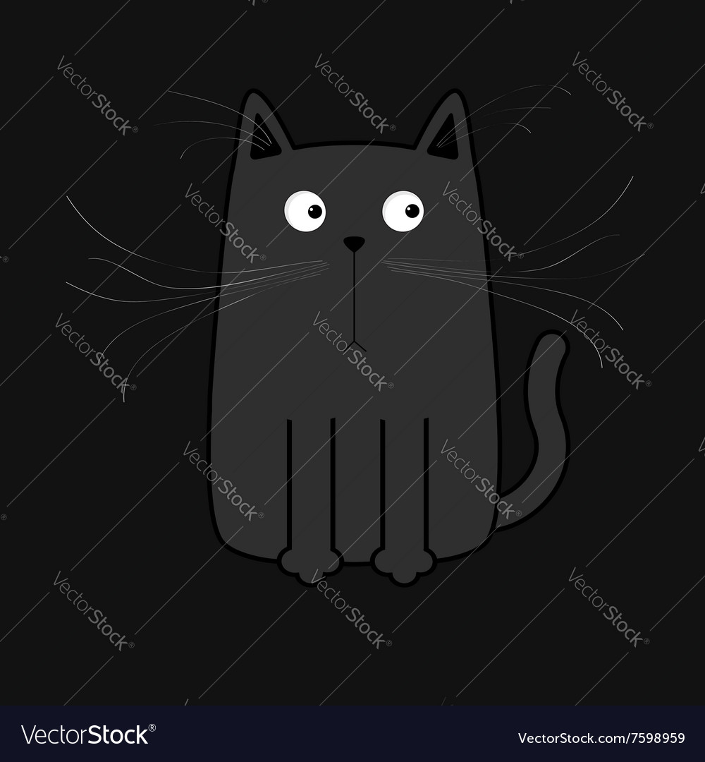 Cute black cartoon cat Big mustache whisker Funny vector image