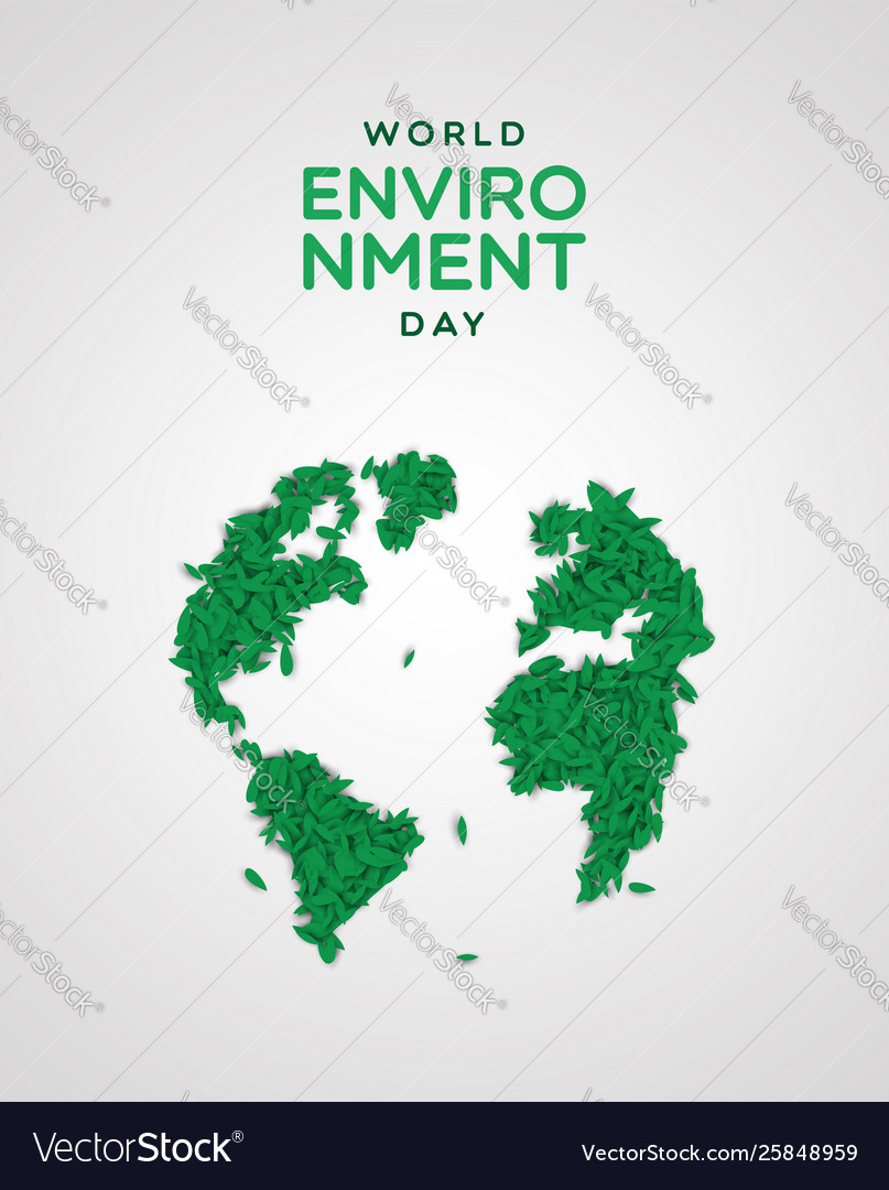 Environment day card green leaf earth map