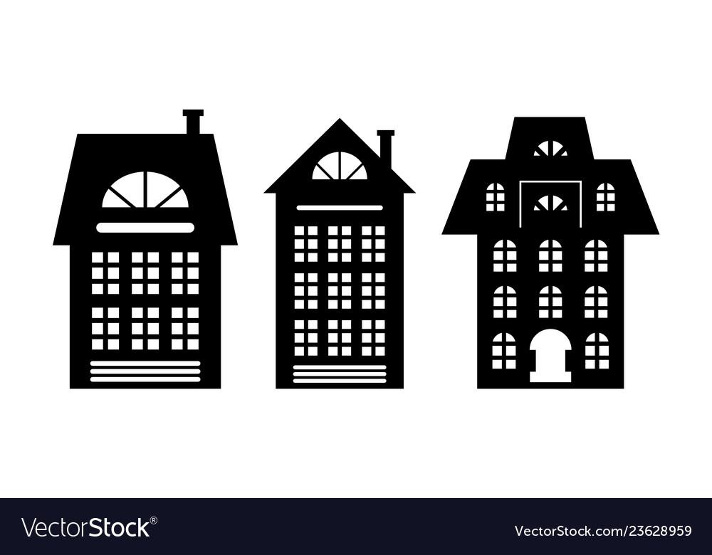 Houses monochrome silhouette multi storey building