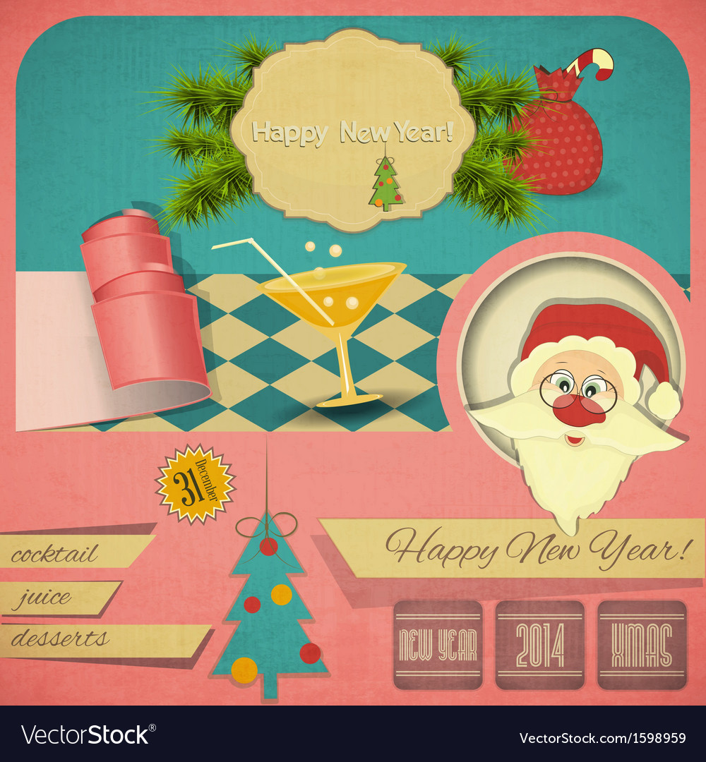 Old Christmas and New Years Postcard Royalty Free Vector