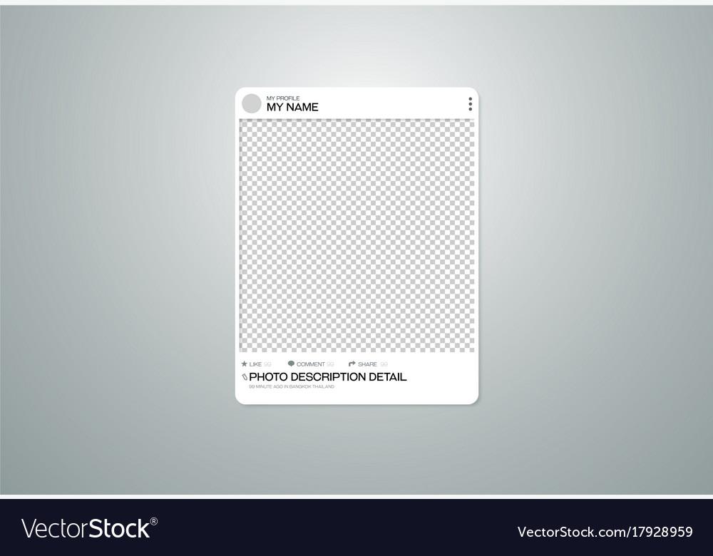 Photo frame social on transparent background