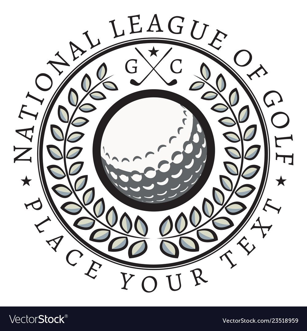 Retro style sport emblem with golf ball