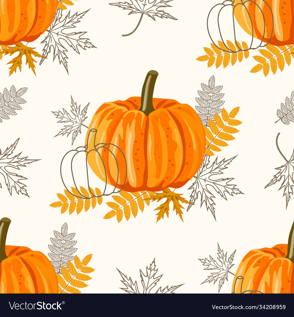 Seamless pattern with leaves and pumpkins