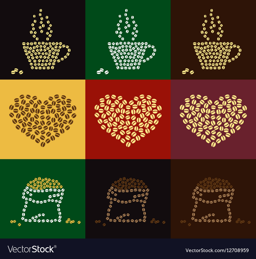 Set of coffee bean in coffee cup heart shape