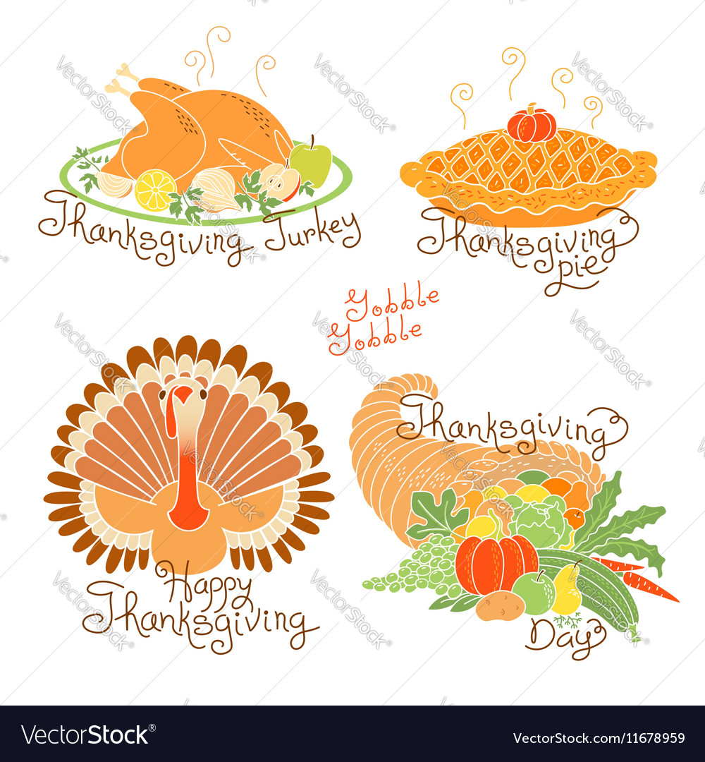 Set of color drawings to Thanksgiving Day Autumn