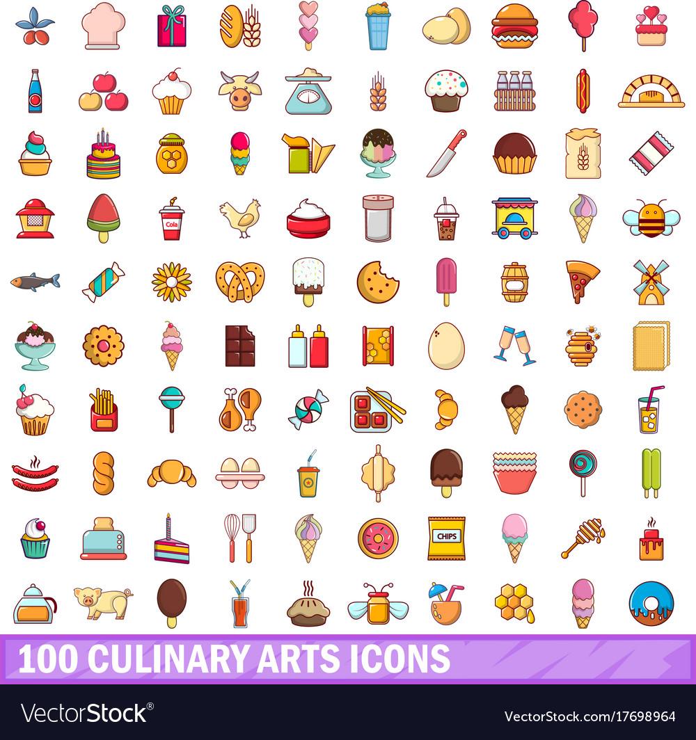 100 Culinary Arts Icons Set Cartoon Style Vector Image