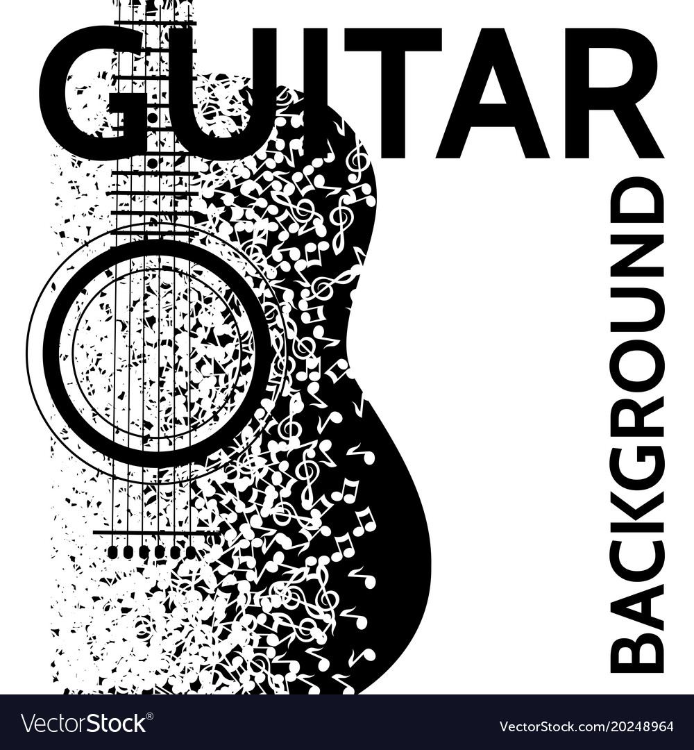 Abstract background with guitar and notes