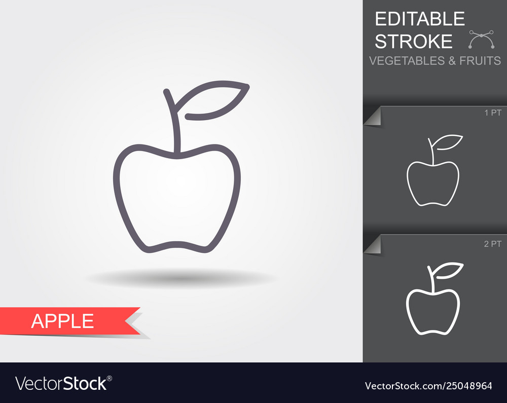 Apple line icon with editable stroke with shadow