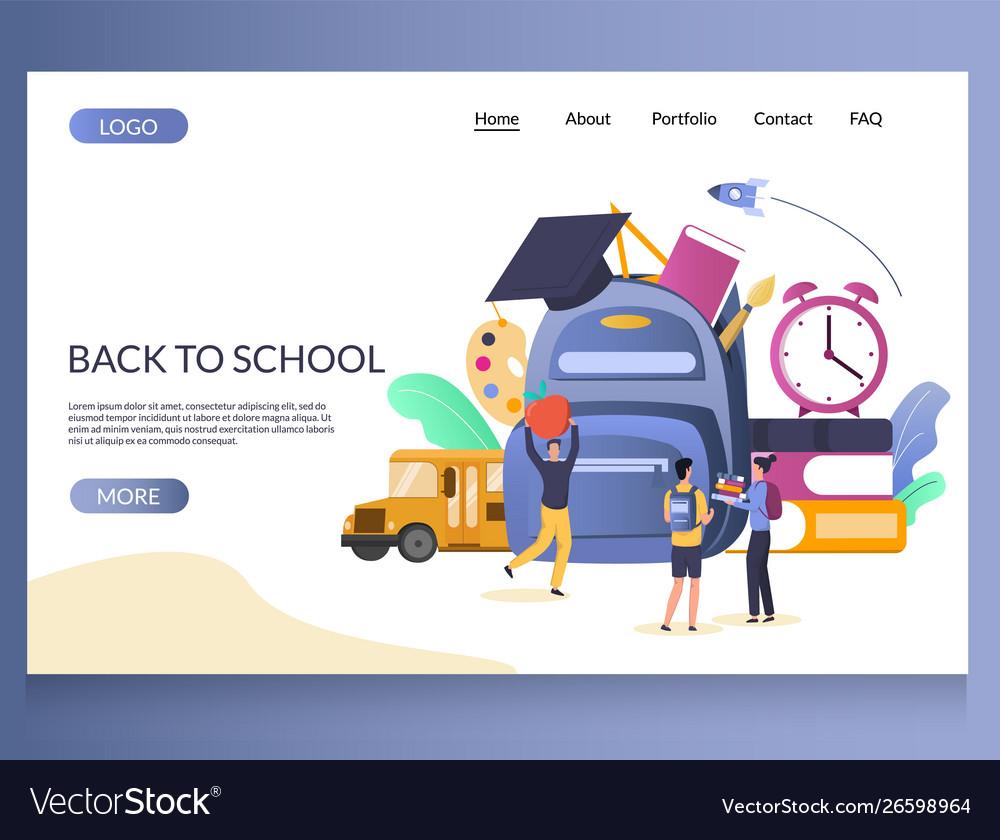 Back to school website landing page design
