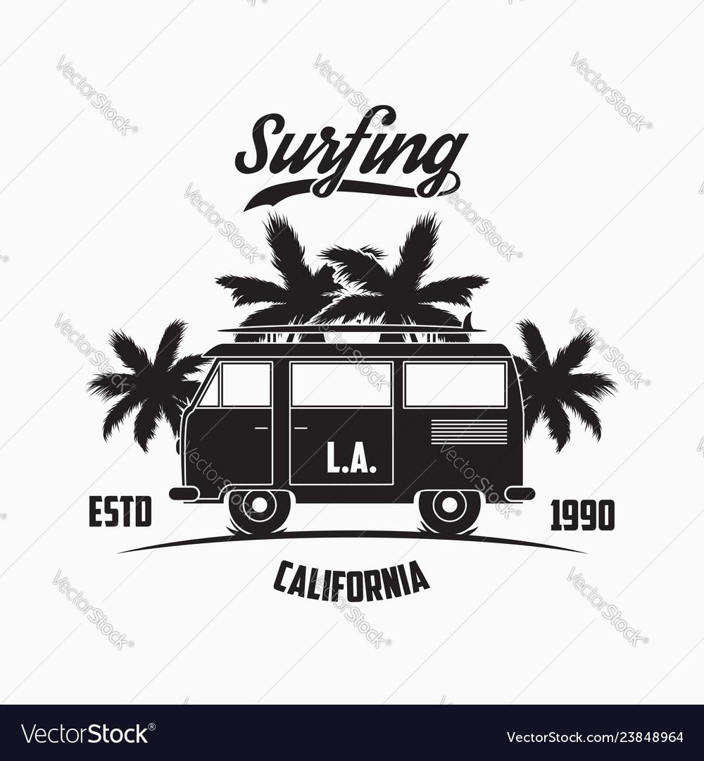 California los angeles surfing typography