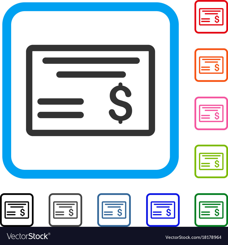 Dollar cheque framed icon