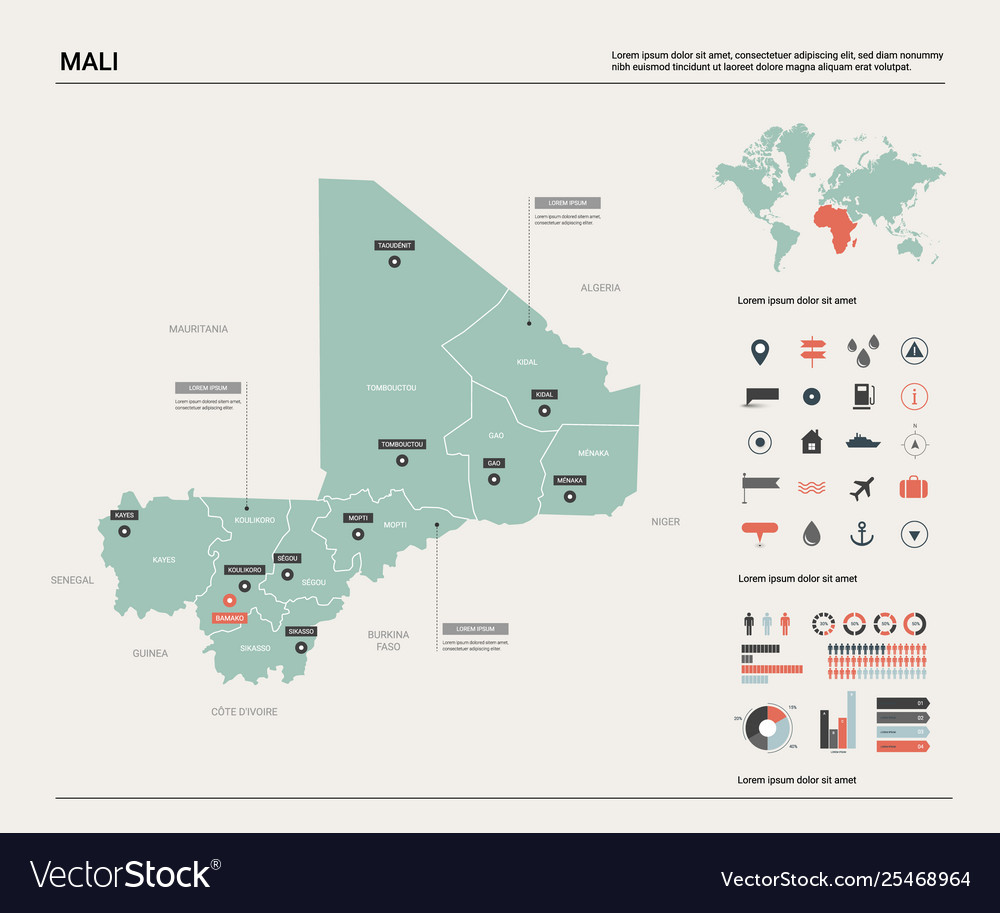 Map mali country map with division cities and
