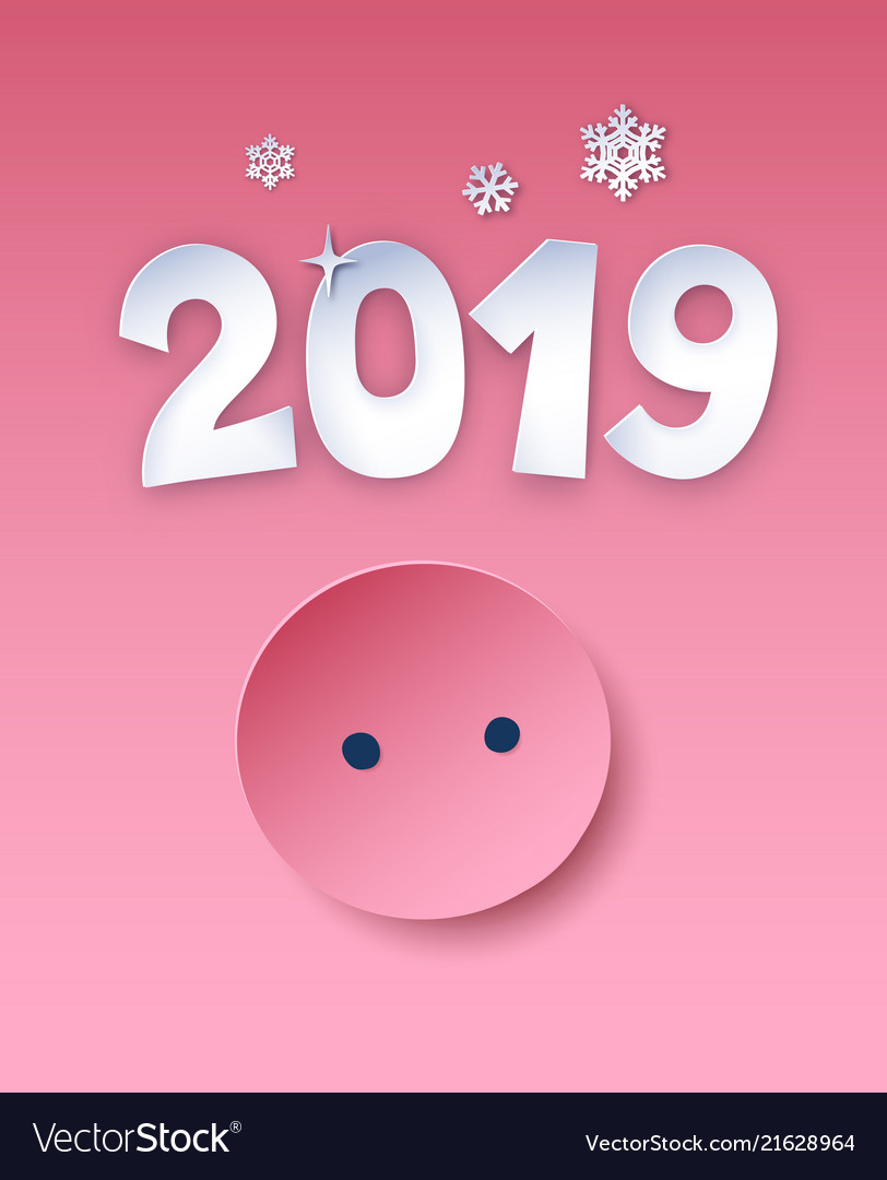 New year postcard with piggy nose