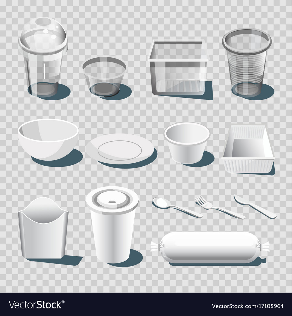sc 1 st  VectorStock & Plastic dishware or disposable tableware 3d Vector Image