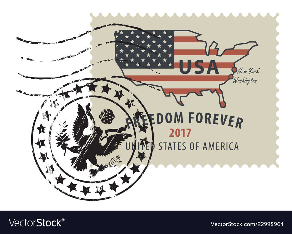 Postage stamp with map of usa in colors of flag