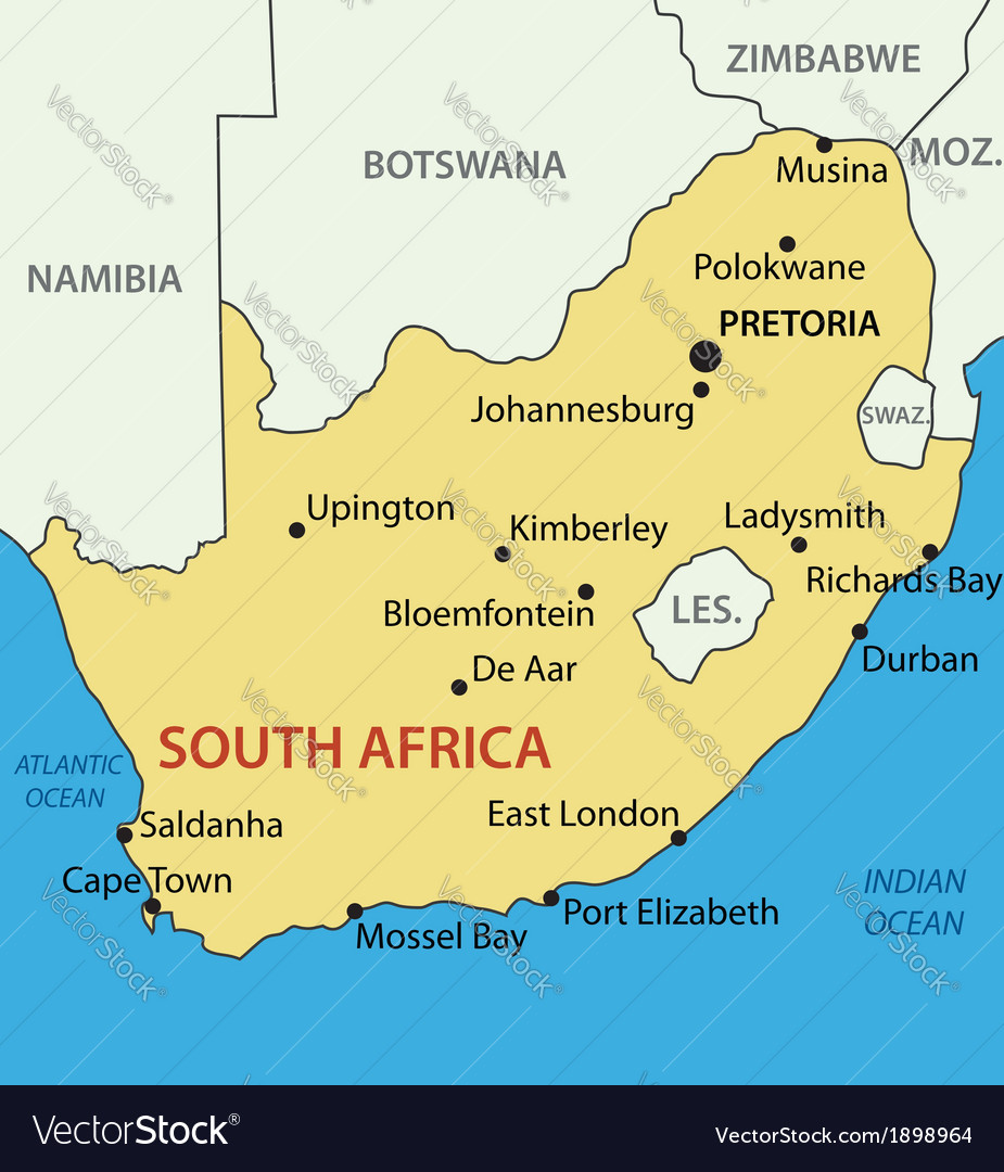 Republic of South Africa   map Royalty Free Vector Image