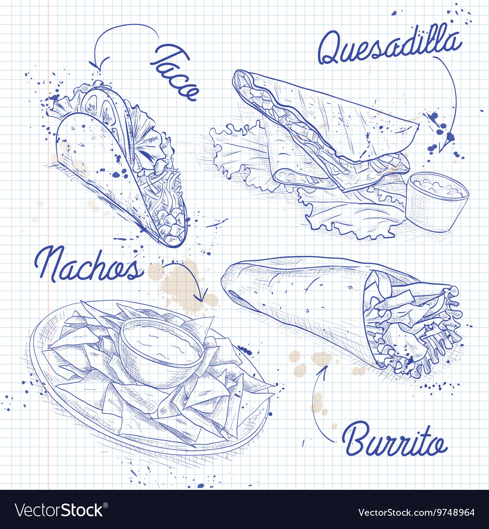 Scetch of mexican food on a notebook page