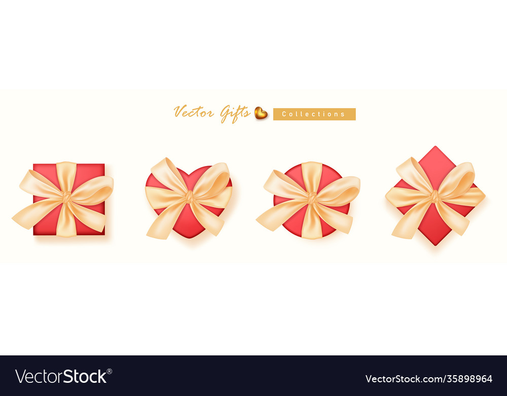 Set gifts box collection realistic gift