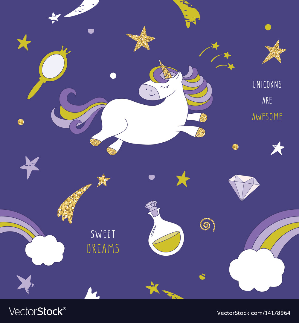 Unicorn on the night sky seamless pattern with