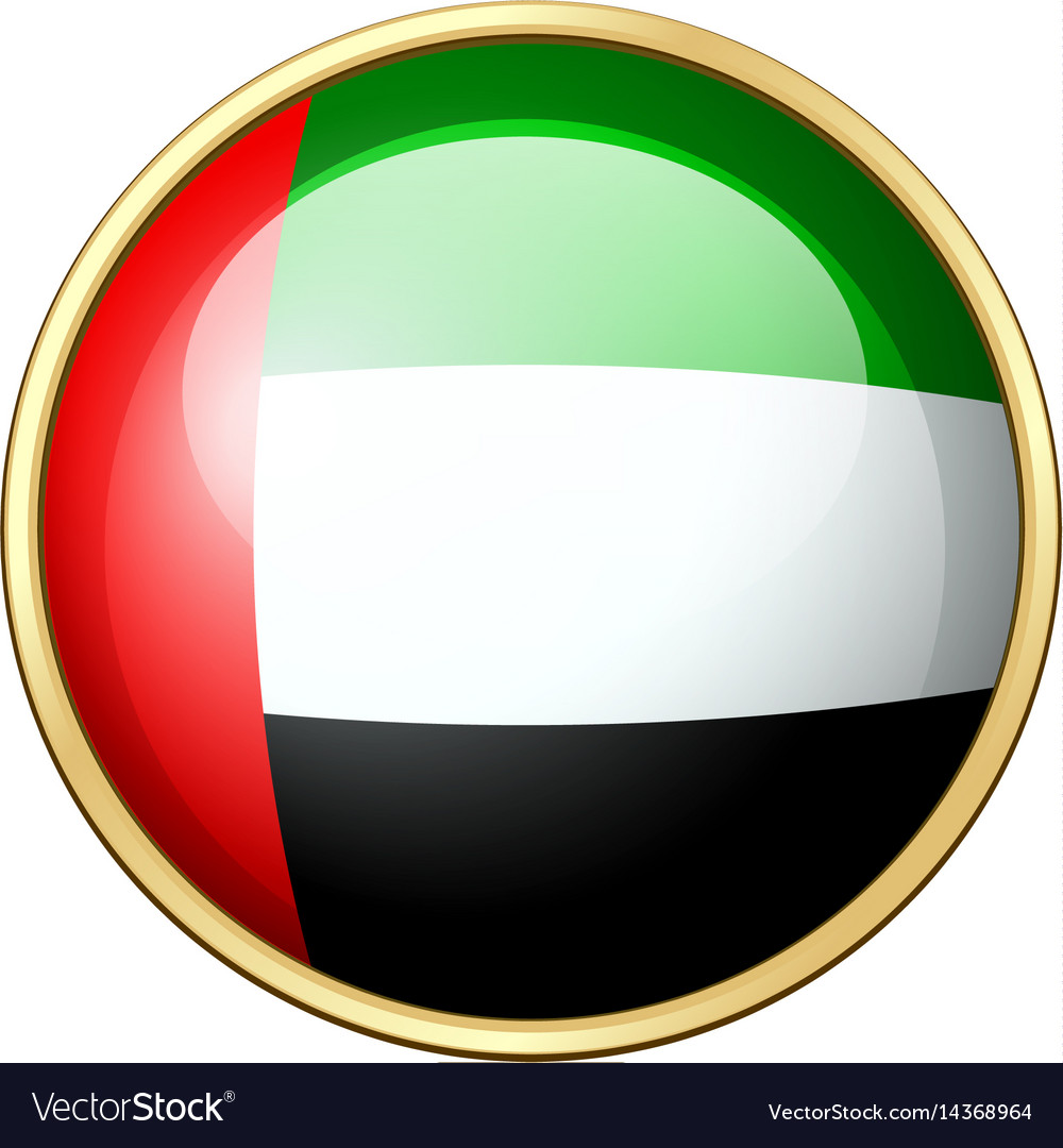 united arab emirates flag on round icon royalty free vector