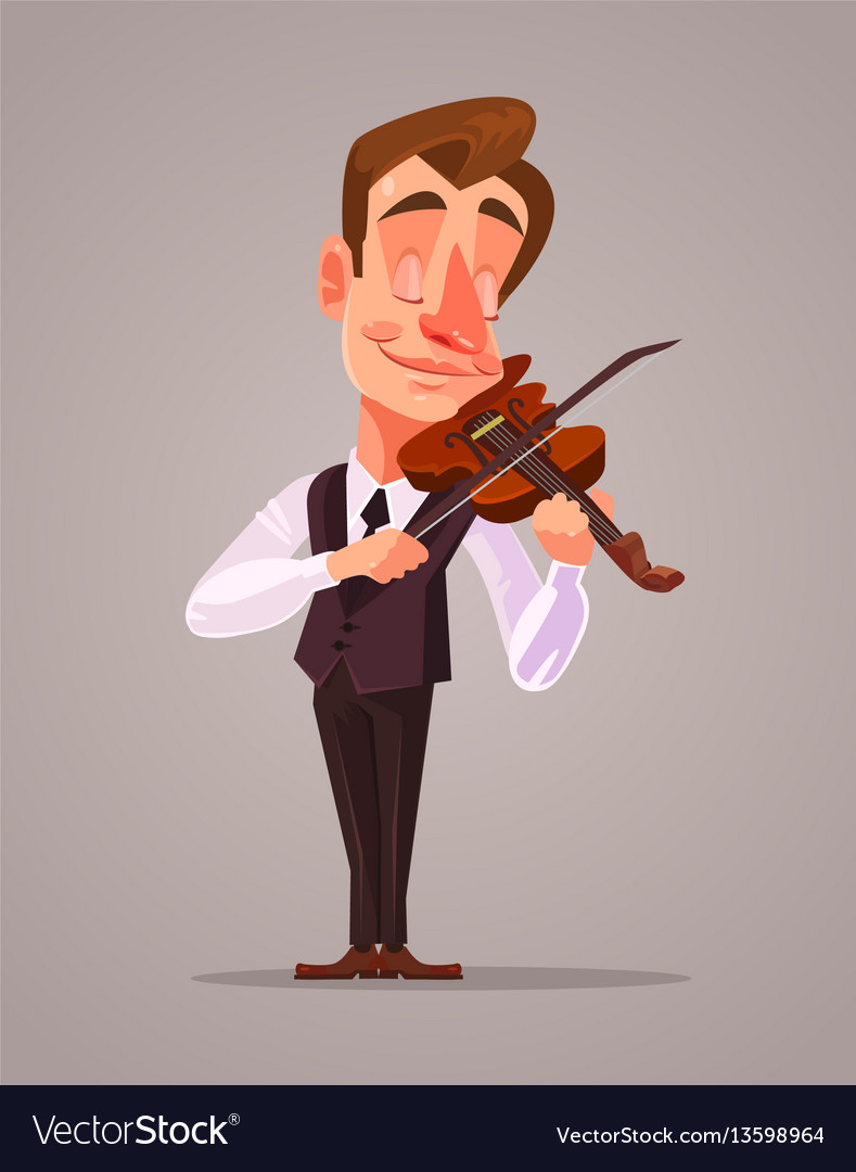 Violinist man character playing music