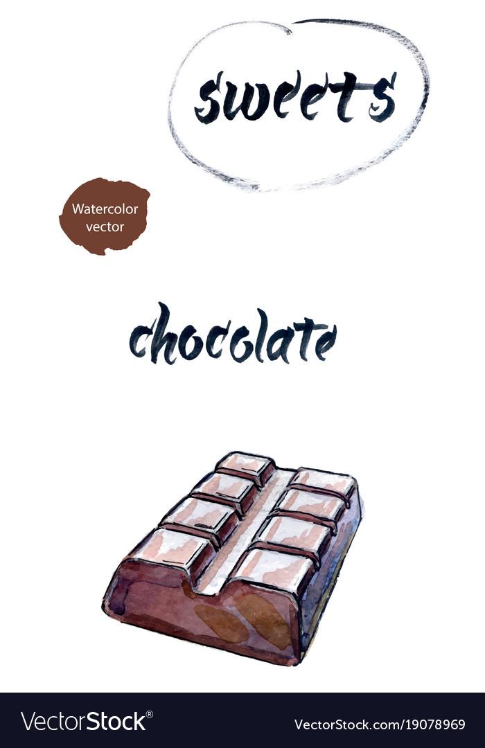 Bar of chocolate watercolor