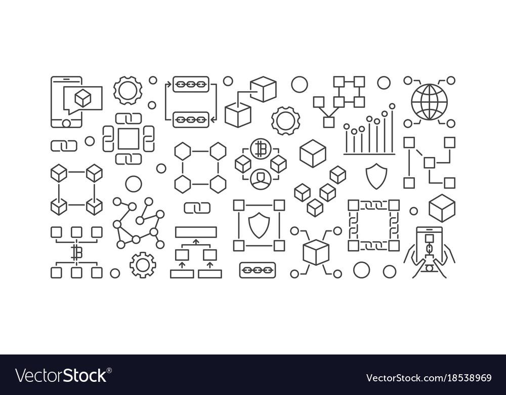 Blockchain line banner block-chain