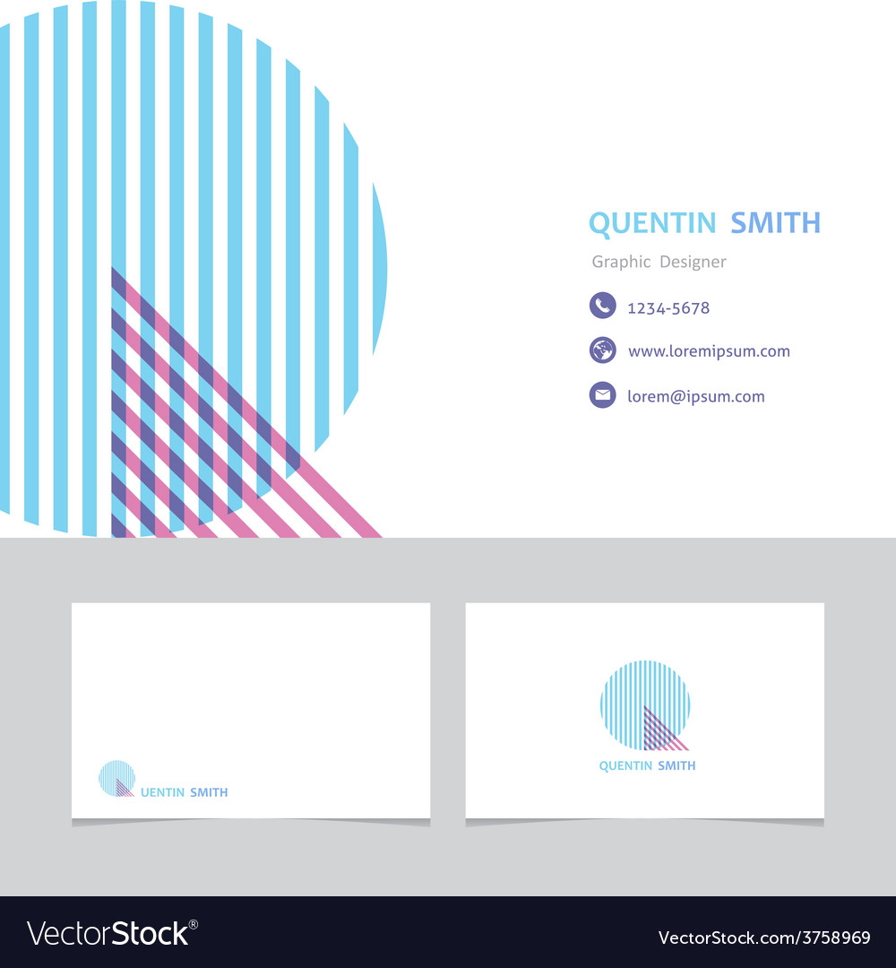 Business card template with a letter q Royalty Free Vector