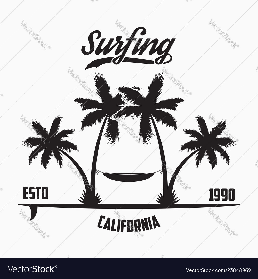 California surfing typography for design clothes