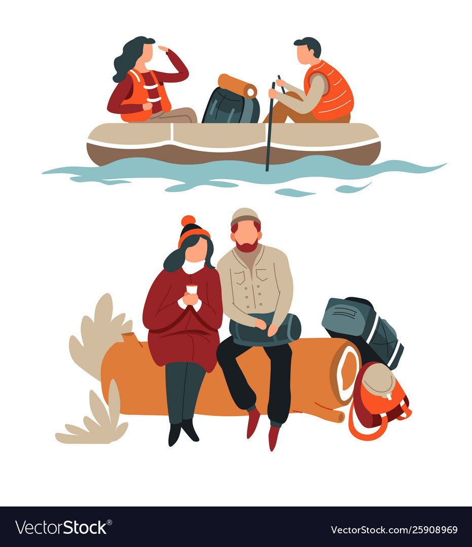 Couple hiking hikers in boat and sitting on log