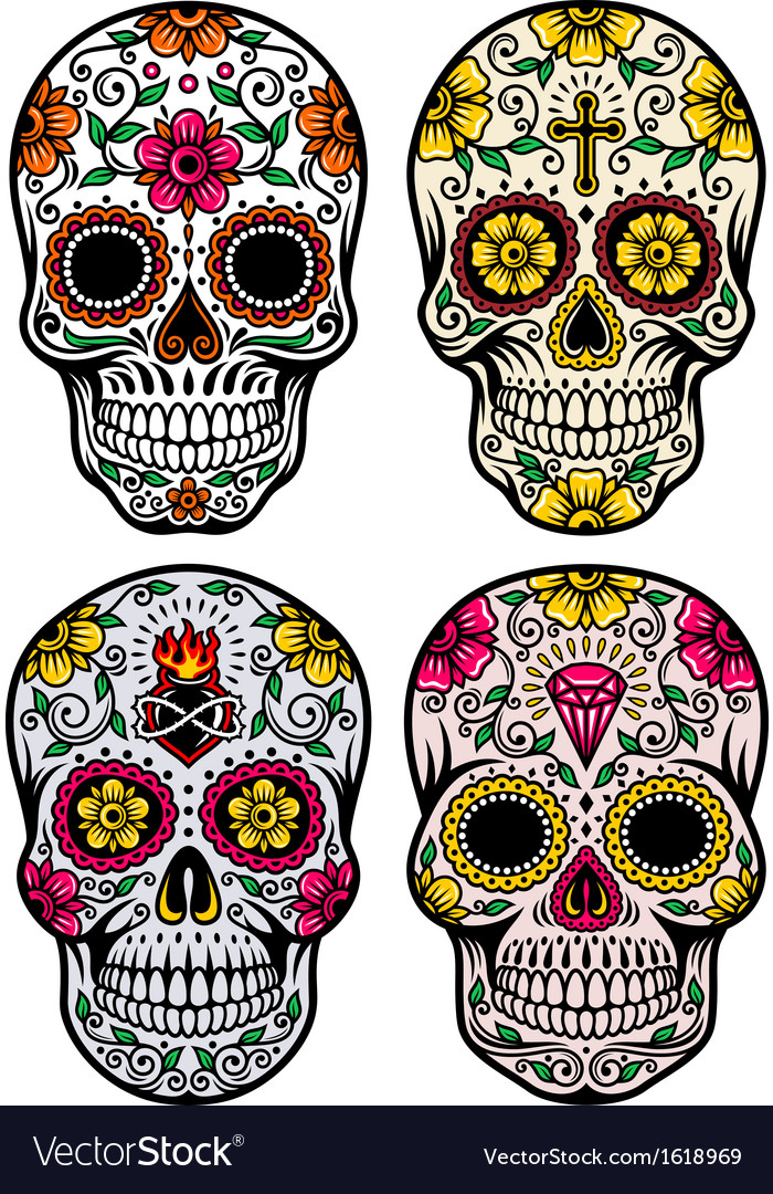 Day Of The Dead  >> Day Of The Dead Skull Set Royalty Free Vector Image