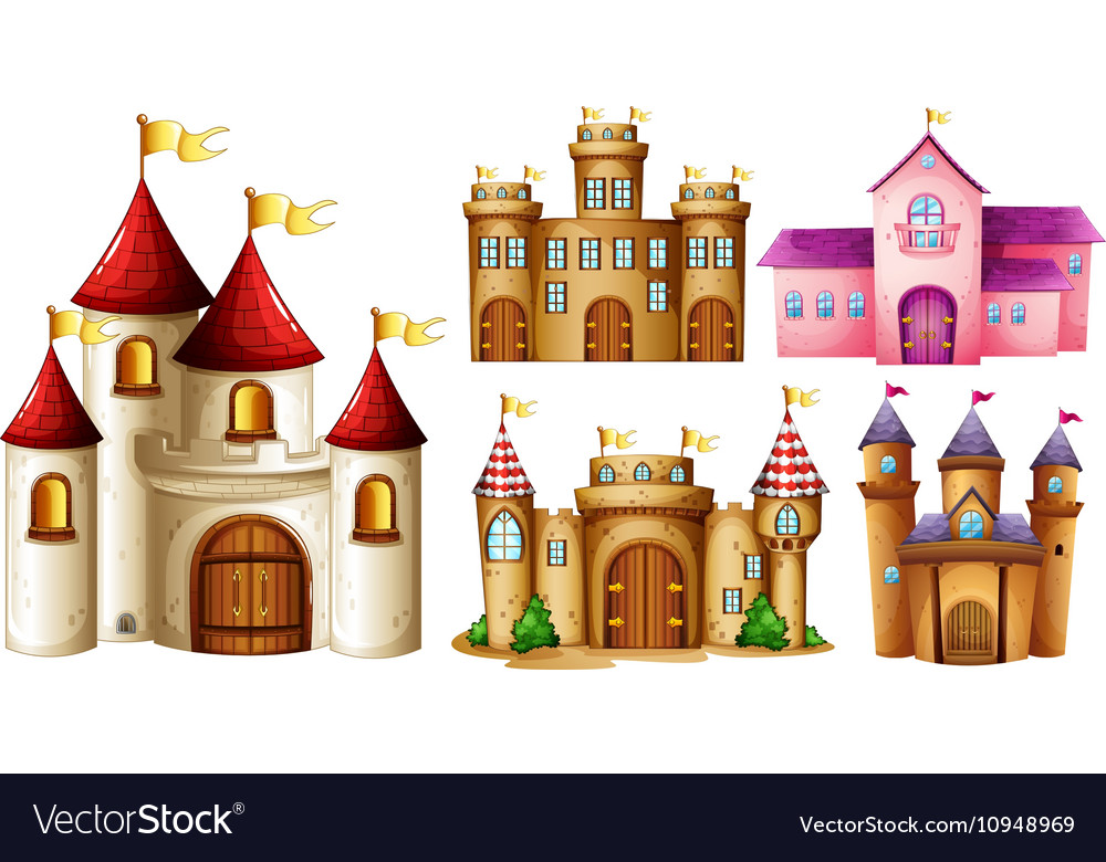 Five design of castle towers vector image