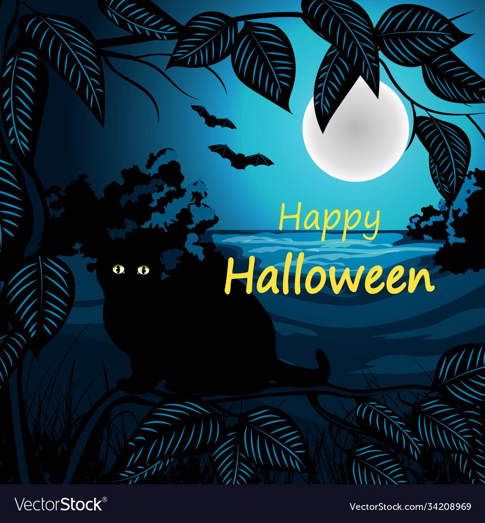 Happy halloween with black cat
