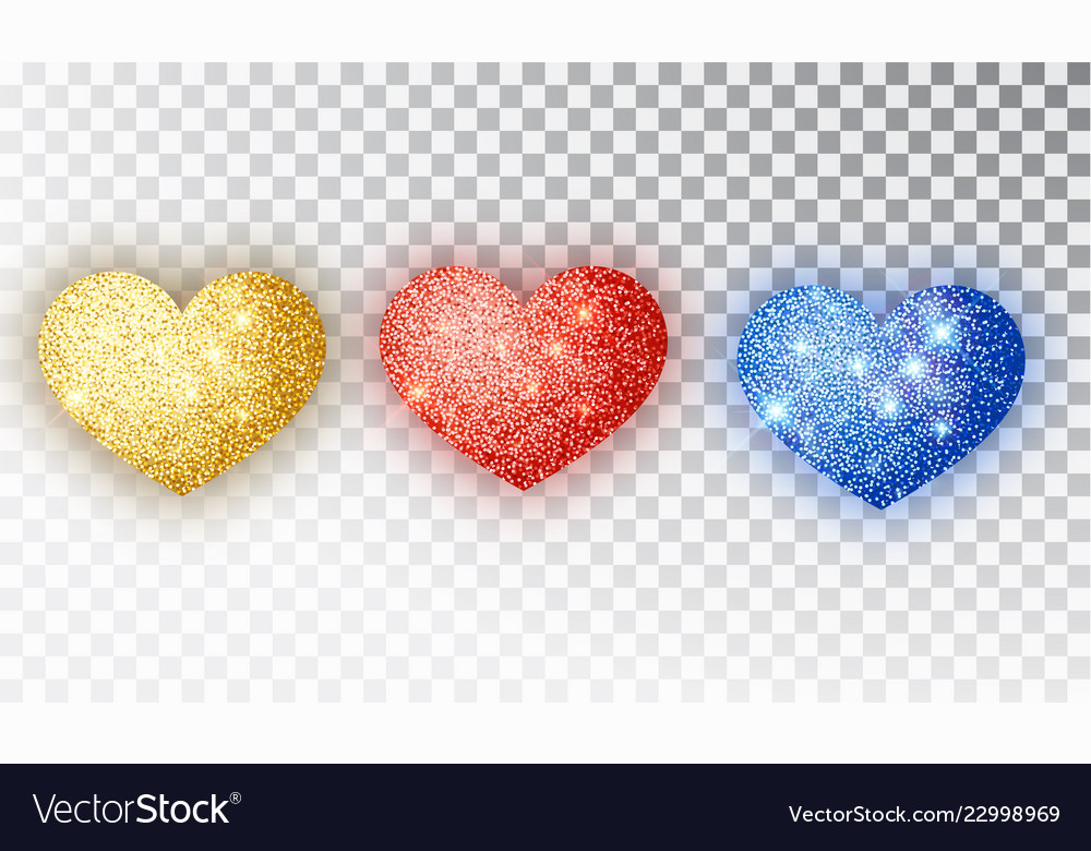 Hearts glitter texture set red gold blue hearts