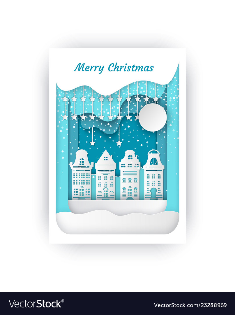 Merry christmas cut out paper buildings cityscape