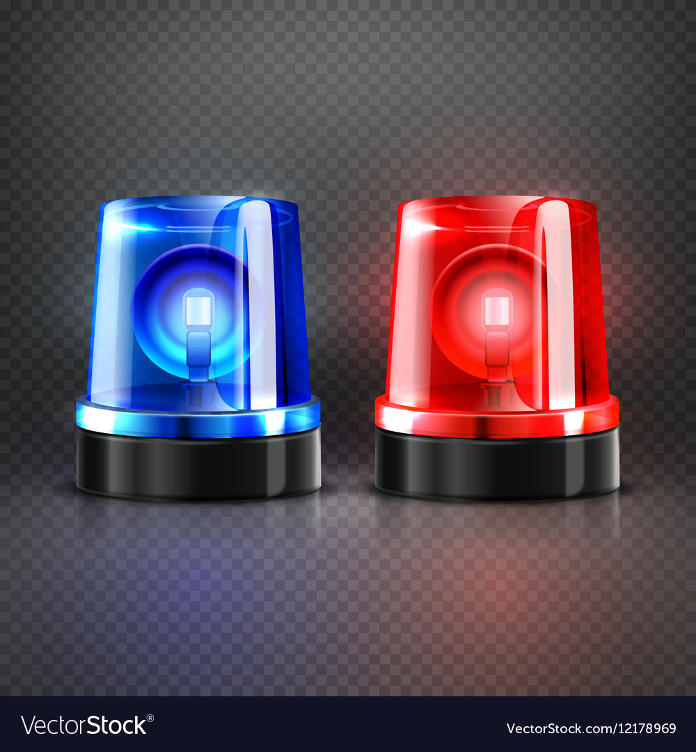 Realistic police ambulance flashing red and blue vector image