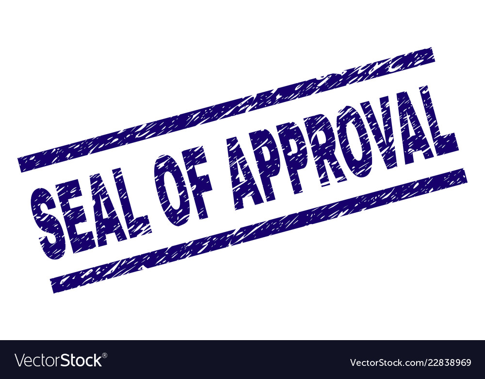 scratched textured seal of approval stamp seal vector image
