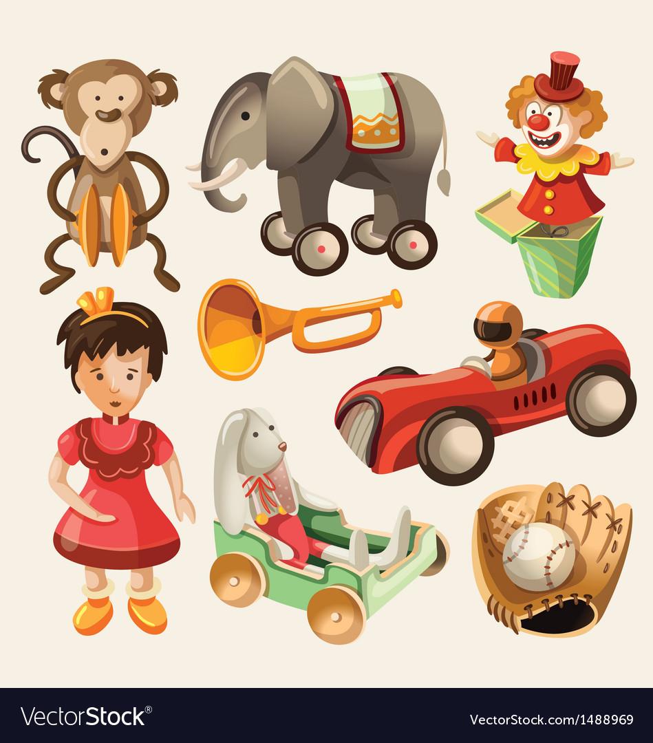 Set colorful vintage toys for kids