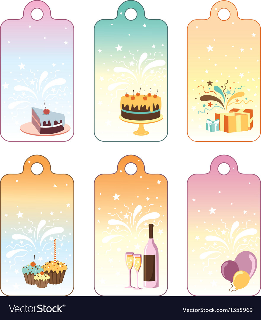 Set of celebration labels