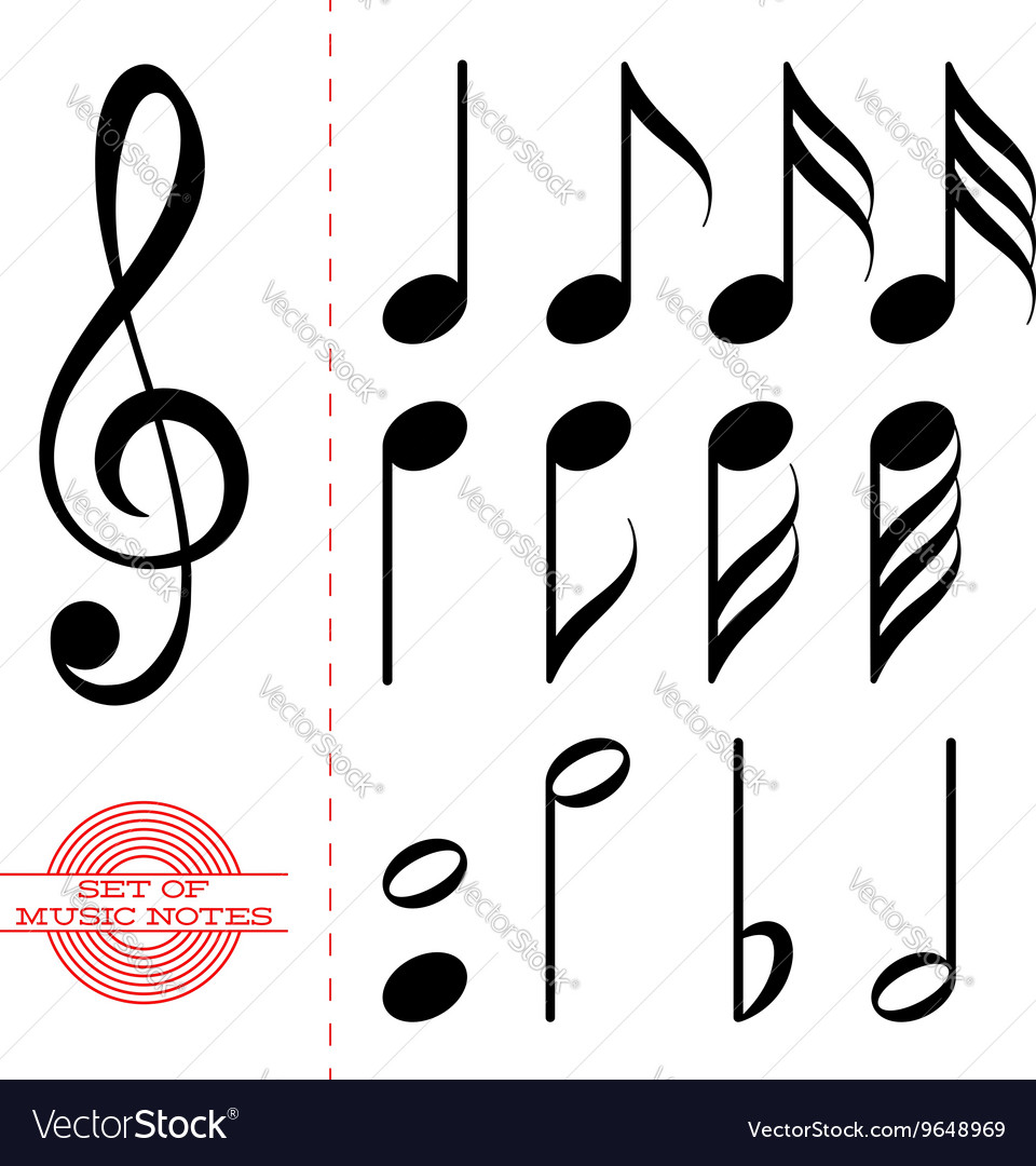 Set of classic black music notes