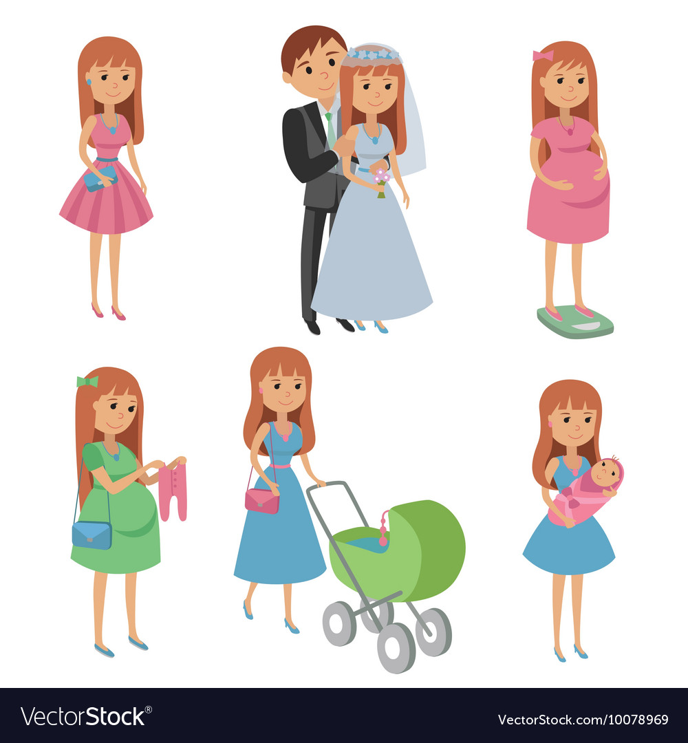 Set of wedding couple pregnant woman mother with